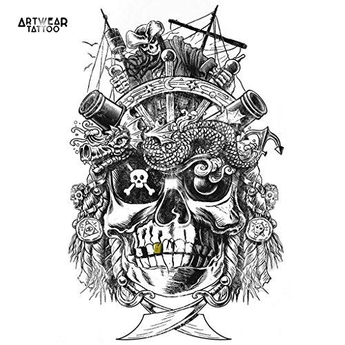 "Tatuaje temporal realizado por un artista ""Golden Teeth The Pirate"" - ArtWear Tattoo Boat - B9966 M"