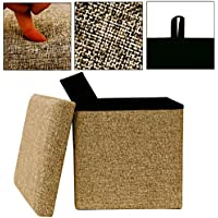 Takestop® Puf Plegable Tela Beige caja tapa reposapiés taburete 30x 30x 31.5cm tinta unita Puff diseño moderno
