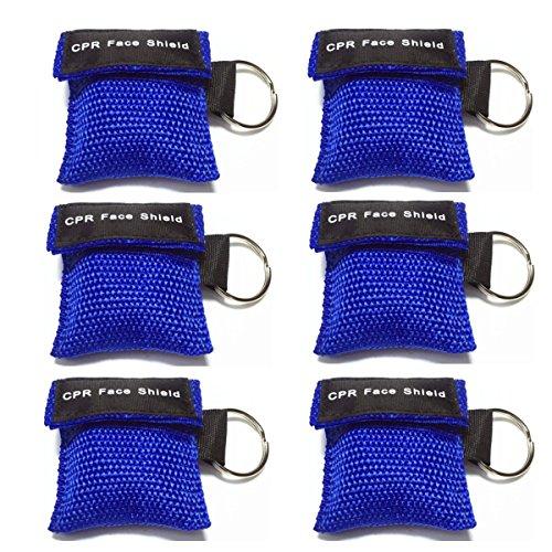 Lifesport Beatmungsmaske, 6 Stücke CPR Maske Schlüsselbund Ring Rescue Face Shields Emergency Kit Bea (Blau)