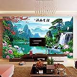 Carta da parati semplice cinese, Video carta da parati Gigantografie di soggiorno tv sfondo Tappezzeria paesaggio tridimensionale 3d-A 100x100cm(39x39inch)