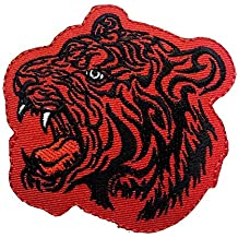 Parches - tigre animal - rojo - 7,2x7,6cm - termoadhesivos bordados aplique para ropa
