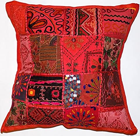 Large Zip Decorative Cushion Cover Red 24x24