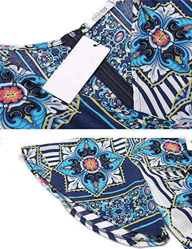 Jumpsuit Kurz, Pagacat Damen Blumendruck V-Ausschnitt Kurzarm Sommer Overall mit Gürtel für Strand Blau