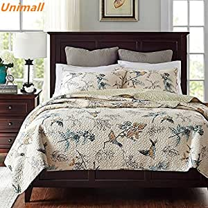 Unimall 100 Cotton Super King Size Quilted Bedspread Sets