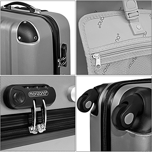 Hartschale Hartschalenkoffer Hard Shell Solo Trolley Koffer Reisekoffer Gepäck Rollkoffer ABS-Schale - Alu-Teleskopgriff - gummierte Rollen - Zahlenschloss - M hellblau -