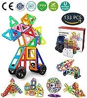 94 /133 Piezas Magnéticas Bloques de Construcción Conjunto de Tejas Magnéticas Educacionales para Construcción Juguetes Apilados para Niños de Jaixin