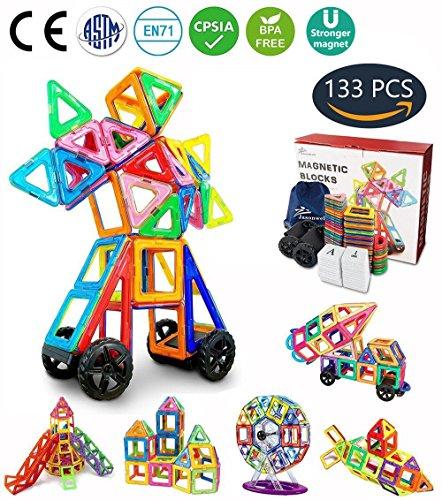 Jasonwell Magnetische Bausteine 133 Teile Magnete Bauklötze Konstruktion Blöcke Bausatz Kreative Spielzeuge Kinder Kleinkind Mädchen Jungen Riesenrad Aufbewahrungstasche Tolles - Kinder-blöcke