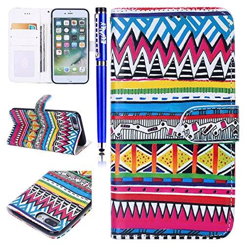Custodia iPhone 7 Plus/iPhone 8 Plus (5.5), EUWLY Flip Cover Leather Wallet Case Custodia per iPhone 7 Plus/iPhone 8 Plus (5.5) in PU Pelle, Bling Bling Custodia Cover con Ultra Sottile Interno Sili Modello Tribale