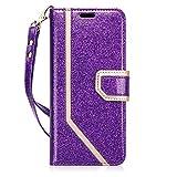FYY Samsung Galaxy S9 Plus Hülle,[Leder Brieftasche Hülle mit Spiegel] mit [Information Anti-Leckage Schutztechnik] und [Ständer-Funktion] für Samsung Galaxy S9 Plus-Bling Violett