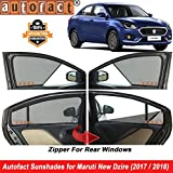 #9: Autofact Half Magnetic Window Sunshades/Curtains for Maruti Swift Dzire New (2017/2018) [Set of 4pc - Front 2pc Half Without Zipper ; Rear 2pc Full with Zipper] (Black)