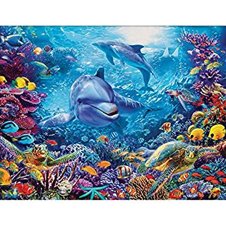 Diamond Painting Kits Full Drill,Astory DIY 5d diamond painting kits Rhinestone Crystal Embroidery Pictures Cross Stitch Art Craft for Home Decor Underwater world & Dolphin 38*30 cm (14.9*11.8inch)