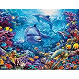 Diamond Painting Kits Full Drill,VLikeze Astory DIY 5D Diamond Painting Kits Rhinestone Crystal Embroidery Pictures Cross Stitch Art Craft for Home Decor Underwater World & Dolphin (14.9 * 11.8inch)