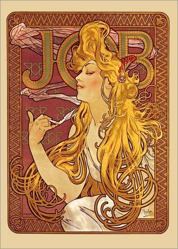 Mucha-job (Posterlounge Acrylglasbild 60 x 80 cm: Job, blond von Alfons Mucha - Wandbild, Acryl Glasbild, Druck auf Acryl Glas Bild)