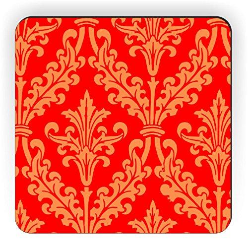 Rikki Knight Rot Farbe Damast Design Quadratisch Kühlschrank Magnet