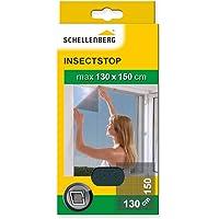 Schellenberg 50715 Fliegengitter für Fenster | zuverlässiger Schutz vor Mücken, Fliegen, Insekten & Ungeziefer | Maße: 130 x 150 cm | anthrazit | einfache Montage ohne bohren | inkl. Befestigungsband