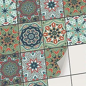 creatisto Fliesenaufkleber Fliesenfolie Mosaikfliesen - Klebefolie Aufkleber für Fliesen | Stickerfliesen - Mosaikfliesen für Küche, Bad, WC Bordüre (15x20 cm | 48 -Teilig)