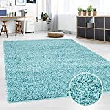 Hochflor Teppich | Shaggy Teppich fürs Wohnzimmer Modern & Flauschig | Läufer für Schlafzimmer, Esszimmer, Flur und Kinderzimmer | Langflor Carpet türkis 060x090 cm