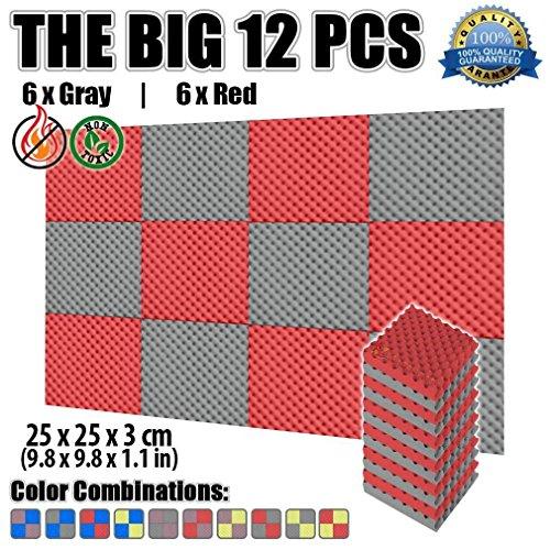 Super Dash 12Pack, 25x 25x 3cm Noppenschaum Egg Box Akustik Home Studio schaldicht Behandlung Zubehör Foam Wall Panel Fliesen sd1052, Red and Gray, 25 X 25 X 3 cm