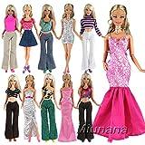 Miunana 10 Vêtement En Vogue Aléatoire pour Barbie+ 10 Paires De Chaussures Pour Barbie De Livraison Aléatoire