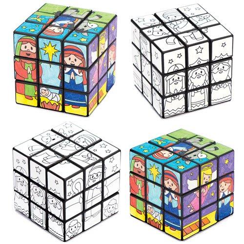 Cubi puzzle con personaggi del presepe da colorare per bambini, giochi e giocattoli per bambini piccoli per un natale perfetto (confezione da 2)