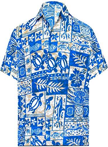 LA LEELA männer Hawaiihemd Kurzarm Button Down Kragen Fronttasche Beach Strand Hemd Manner Urlaub Casual Herren Aloha Hellblau_174 XS Likre 993 -
