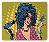 Makeup Mouse Pad, Pop Art Hippie Young Lady with Polka Dots Top Hipster Sunglasses Comic Illustration, Standard Size Rectangle Non-Slip Rubber Mousepad, Multicolor