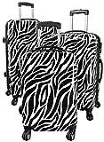 Kofferset Gepäckset Polycarbonat ABS Hartschalen Koffer 3tlg. Set Trolley Reisekoffer Reisetrolley Handgepäck Boardcase PM (Zebra Weiß)