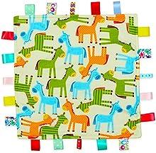 Color blanco con caballos de colores bebé etiqueta, Taggy, Taggie Blanket-Parte inferior de textura, color naranja