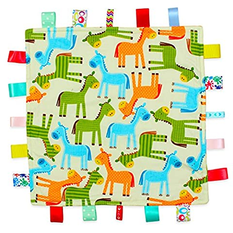 White Horses Baby Tag Blanket - White with Coloured Horses Animals Taggy Blanket with Plain Orange Textured Underside