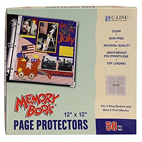 C-Line Memory Book 12 x 12 Inch Scrapbook Page Protectors, Clear Poly, Top Load, 50 Pages per Box (62227) by C-Line Products Inc.