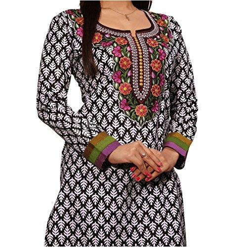 Maharanis Original Indische Baumwoll Kurti Tunika 7/8 -Arm Schwarz Weiß mit Bunter Bestickung M - 38/40 (Shirt Kurti Tunika)