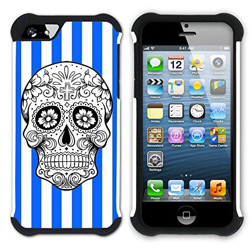 Graphic4You Mexikanische Zuckerschädel Streifenmuster (Wasserblau) Hart + Weiche Kratzfeste Hülle Case Schale Tasche Schutzhülle für Apple iPhone SE / 5 / 5S Königsblau