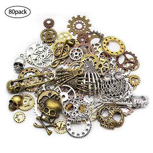 Mila-Amaz 80 Stück Antik Metall Skelett Steampunk Anhänger Charms Armbanduhr Zahnrad Metall Anhänger Charms für Schmuck Basteln, 150 Gramm
