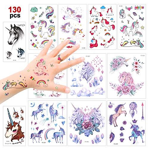 Konsait Einhorn Temporäre Tattoos für Kinder Mädchen,