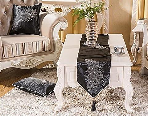 LD&P Nouvelle mode moderne européenne simple diamant table runner sparkling home hotel bed runner bed towel,black,32*200cm