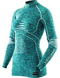 X Bionic ACC _ Evo Melange UW LG _ SL. Turtle Neck, lencería para mujer, mujer, Acc_evo Melange Uw Lg_sl. Turtle Neck, Turchese/Bianco, XS