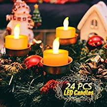 UBEGOOD Vela LED Sin Llamas Luz Blanca Cálida Luz Parpadeante Eléctrico Ambiente Ideal para Lglesias Fiestas de Compleaños Bodas Fiesta Mesa Veladas Navidades Diningroom - 24 Pcs