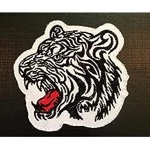 Parches - tigre animal - blanco - 7.5x8cm - termoadhesivos bordados aplique para ropa