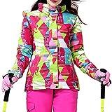 iPretty Skianzug Damen Regenjacke Skijacke mit kapuze Schneeanzug Skihose Softshell Jacke damen wasserdicht atmungsaktiv Snowboardhose-Rosa(Jacke)-M