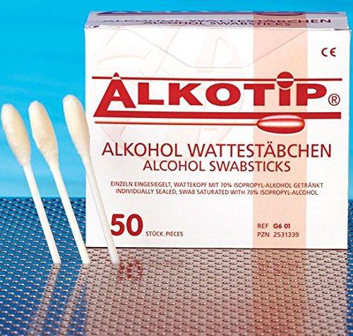 ALKOTIP Alkohol Wattestäbchen - 50 Stück einzeln eingesiegelt - Wattekopf mit 70% Isopropyl-alkohol getränkt┇Alcohol Swabsticks 50 pieces PZN 2531339 -