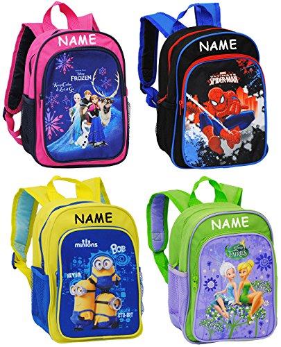 Belldessa Rucksack für Kinder -  Disney Fairies - Tinkerbell  - incl. Name - Tasche - Kinderrucksack - beschichtet & wasserfest / groß Kind - Mädchen - z.B. für Vorsc..