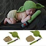 Conjuntos de Accesorios de fotografía para bebés, Conjunto de Trajes de Yoda de Punto de Ganchillo Hecho a Mano para fotograf