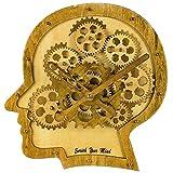 Kintrot Vintage Uhr mit beweglichem Deko-Uhrwerk mit 3D-Kopf-Motiv Quarzuhrwerk Kreative Wanduhr als Deko für Büro Schule und Zuhause