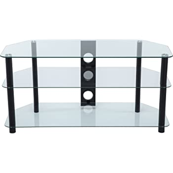 af9682f42649 Stealth Mounts 37827 1000 mm Glass and Legs TV Stand for 3D/LED/LCD/Plasma  TVs Up To 50 - Clear/Black
