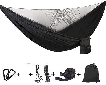 solide et durable pour la randonn/ée plage voyage jardin Camping hamac lit suspendu avec hamac en nylon portatif avec moustiquaire Bleu 3 couleurs
