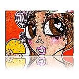 Jolie Fille Grands Yeux Et Long Cilia Peinture à l'huile Peinture Murale Art...