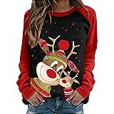 Maglione Natalizio Donna Uomo, Felpe Natale 3D Carino Babbo Natale Alce Pullover Autunno Inverno Moda Casual Sciolto a…
