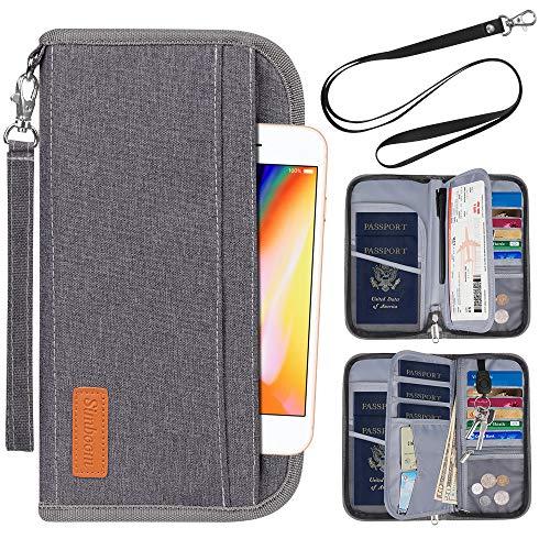 Porte-Passeport Portefeuille, Simboom de Voyage Familial avec Blocage RFID Porte-Document Pochette de 5 Passeports, Carte d'Identité,...