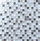 30cm x 30cm Matte Glas und Gebürstet Edelstahl Mosaik Fliesen Silber und Schwarz mit Glitzer (MT0151)