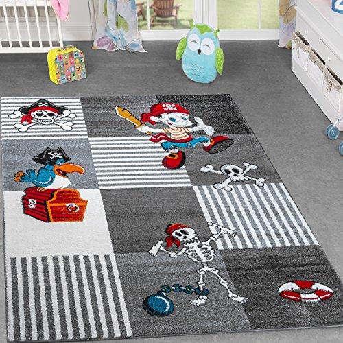 Alfombra infantil, diseño de mundo pirata, Cofre del Tesoro y Papagayo, a cuadros, gris antracita, 80 x 150 cm